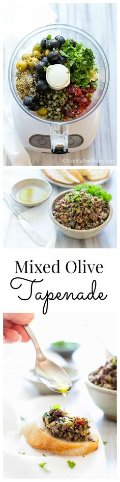 Garlicky, briny and packed full of salty flavors, this appetizer, spread or relish comes together in 10 minutes; Mixed Olive Tapenade | Vegan + Gluten Free