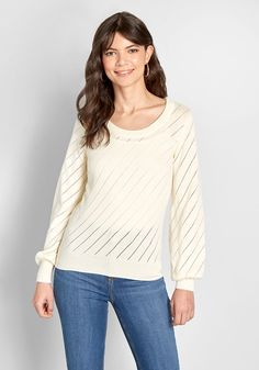 Wherever you wear this ivory sweater, your pals won't be able to get enough of your lively looks! Boasting diagonal pointelle stripes and long balloon sleeves, this cotton pullover from our ModCloth label will stand out in any crowd. Preppy Sweater, Cropped Sweater, Pullover Sweaters, Plus Size Sweaters, Sweaters For Women, Best Cardigans, Modcloth, Balloon Sleeves, Ivory