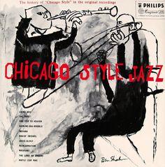 Album cover illustration by Ben Shahn, design by Neil Fujita, 1955, Chicago Style Jazz, Columbia.
