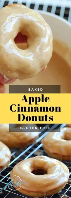 These apple cinnamon baked donuts are ready in less than a half hour. Serve them warm. They are a perfect fall treat and are gluten free. #recipe #donuts #breakfast #desserts #glutenfree Waffle Recipes, Donut Recipes, Brunch Recipes, Dessert Recipes, Quick Appetizers, Appetizer Recipes, Cocktail Desserts, Cocktails, Gluten Free Donuts