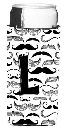 Letter L Moustache Initial Ultra Beverage Insulators for slim cans CJ2009-LMUK                                                                                                                                                                                 More