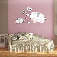 Diy Elephants 3D Acrylic Decorative Mirror Wall Stickers
