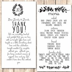 Whimsical Menu and Thank You Card for Wedding by VivaLaLovely, $40.00