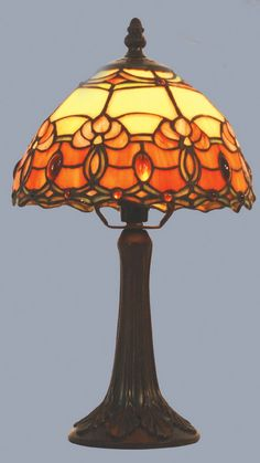 MT22 tl8 ~ Tiffany ~ Burnt Orange/Beige Jewelled Table Lamp  Stained Glass