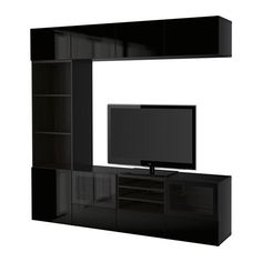 Ikea TV storage combination with softclosing drawers and glass doors blackbrown Selsviken high glossblack clear glass 202022620261818 -- Click for Special Deals