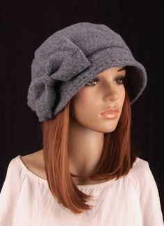 b24b7b1e829 M367 Gray Women s Wool Cashmere Cute Bow Winter Hat Beanie Brim Cap Cloche  Cloche Hat