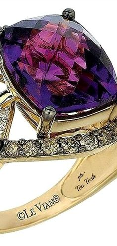 Le Vian Amethyst, Vanilla & Chocolate Diamonds Set in Honey Gold, Ring. High Jewelry, Jewelry Rings, Jewelry Accessories, Women Jewelry, Unique Jewelry, Jewlery, Amethyst Jewelry, Schmuck Design, Love Ring