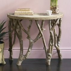 hall table - paint table top same color as the mirror - use branches from trees we cut down in the shelterbelt - A Interior Design Tree Branch Decor, Tree Branches, Trees, Tree Branch Crafts, Branch Art, Twig Furniture, Cabin Furniture, Plywood Furniture, Painted Furniture