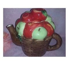 Vintage Apples in a Basket TeaPot, Apple Orchard Teapot, Apple Kitchen Decor, Ceramic Apple Tea Pot, Apple Decor by JunkYardBlonde on Etsy #appleteapot #apples #appleorchard #fruitteapot #giftforteacher #vintageteapot #applesinabasket