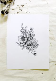 Floral Bouquet Botanical Floral Pen and Ink Hand by emiliebelle
