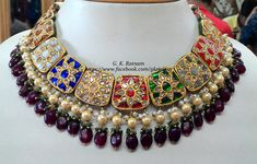 Exquisite navratan necklace with double-coated pearls and rubies.