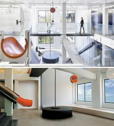 """Toronto Indoor slides can add a sense of fun to just about any space (we're thinking even prisons would be happier with slides) that's exactly what the heads of Grip Limited had in mind when installing the """"big orange slide"""" in their Toronto office. it represents the fun, open nature of the company and their creative approach to problem-solving.This is what is at the heart of the architectural slide a willingness to throw the prim, proper out the door in favor of taking a more relaxed view."""