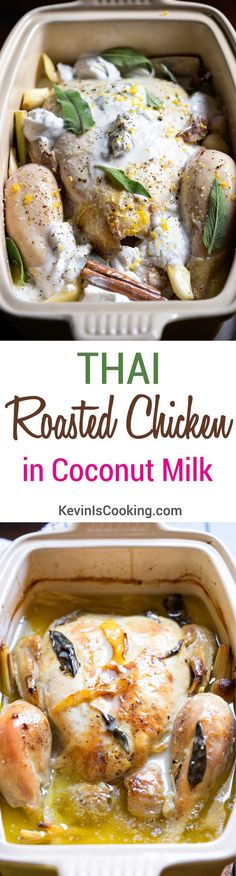 I didn't have any milk on hand for Jamie Oliver's Chicken in Milk, but I did have some coconut milk. This Thai Roasted Chicken in Coconut Milk happened. Turkey Recipes, Chicken Recipes, Dinner Recipes, Chicken Meals, Rotisserie Chicken, Slow Cooker Recipes, Cooking Recipes, Cooking Time, Coconut Milk Chicken