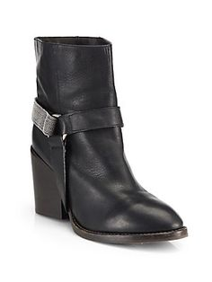 Brunello Cucinelli Monili Leather Beaded Harness Ankle Boots  |  A glimmering beaded ankle strap softens these supple leather harness boots, elevated by a towering stacked heel #FallFashion #ootd #MeantToBe