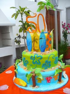 Aloha Hang 10 Ocean Cake!