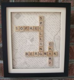 shadow box with scrabble letters   Consult Fee for: CUSTOM SCRABBLE Crossword-style Framed Name(s ...