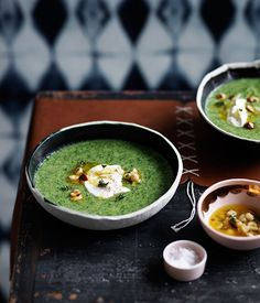 Fast broccoli soup with crème fraîche and hazelnuts recipe :: Gourmet Traveller