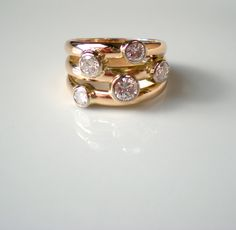 Diamond bubble ring recycled and re-designed from customers own materials by Nikki Barrett NB Jewellery