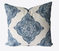 This listing is for 1 fabulous pillow cover. Designer John Robshaw for duralee fabrics, block print medium weight fabric. Cotton/linen blend.
