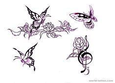 rose-flower-butterfly-tattoo-design.jpg (800×581)