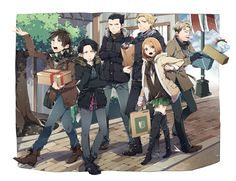 Attack on Titan - Eren, Levi, Gunther, Eld, Oluo, and Petra : Christmas Shopping