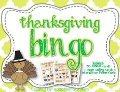 Thanksgiving BINGO: Includes 30 unique BINGO Cards, 1/2 page printable calling cards and a slideshow for use on an interactive whiteboard or with a projector.