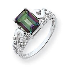 14k White Gold Emerald Cut Mystic Fire Topaz Ring
