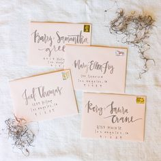 Blush and Grey Watercolor Envelope Calligraphy by afabulousfete on Etsy https://www.etsy.com/listing/202982661/blush-and-grey-watercolor-envelope