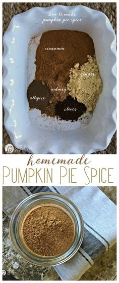Pumpkin Pie Spice   make your own homemade pumpkin pie spice with this simple recipe. No fillers and all goodness. Click the photo to get the recipe. http://TodaysCreativeLife.com