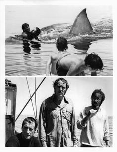 Great White Shark attacks swimmers (above), Roy Scheider, Robert Shaw, and Richard Dreyfuss on boat in serious contemplation in a scene from the film 'Jaws', 1975.