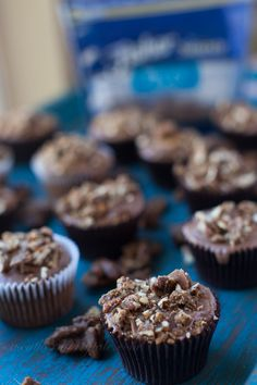 Bourbon Glazed Candied Pecans and a traditional Texas Sheet cake recipe made into cupcakes