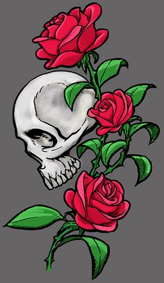 skull with rose Skull Tattoos, Body Art Tattoos, Imagenes Dark, Ed Hardy Designs, Rose Drawing Tattoo, Simpsons Drawings, Beauty And The Beast Movie, Skull Pictures, Skull Wallpaper