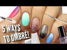 Want to know how to get ombre nails without a sponge? We've got all that and MORE with this extensive collection of DIY ombre nail tutorials! Best Nail Art Designs, Toe Nail Designs, Glitter Acrylics, Gradient Nails Tutorial, How To Do Ombre, How To Ombre Nails, Art Tutorial, Color Mate, Nagel Hacks