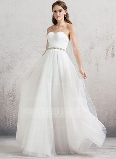 [US$ 139.99] A-Line/Princess Sweetheart Floor-Length Tulle Wedding Dress With Ruffle Beading