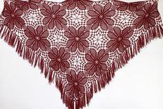 Burgundy Shawl   Extra large Crocheted  shawl by ettygeller
