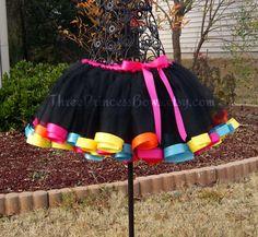Black Rainbow Satin Ribbon Trim Tutu Pink by ThreePrincessBows, $45.00