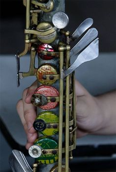 Music instruments made of trash.