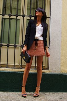 Summer Office Look w/ Black Blazer and Pink Skirt