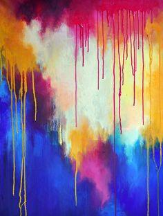 Rainbow   original abstract oil painting  large by MariaKitanoArt, $380.00