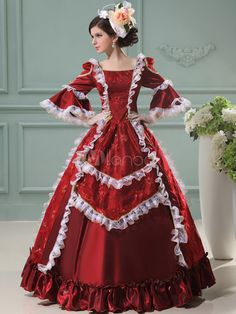 Gorgeous-Red-Short-Sleeves-Lace-Jacquard-Womens-Royal-Gown-270370-3.jpg (600×800)