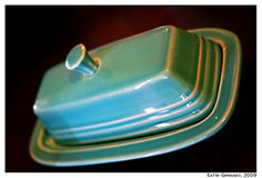 Vintage Turquoise Fiesta butter dish <3