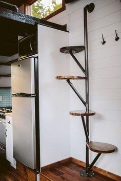 38 Clever Loft Stair Design for Tiny House Ideas - Insidexte.- 38 Clever Loft Stair Design for Tiny House Ideas - Tiny House Stairs, Tiny House Loft, Loft Stairs, Tiny House Living, Tiny House Plans, Tiny House On Wheels, Tiny House Design, Mezzanine Loft, Tiny Loft