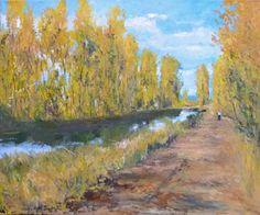 Cuadro de un paisaje al oleo del Canal de Castilla en otoño con los chopos bordeando la vereda del canal. oleo sobre lienzo, 46x38 cms