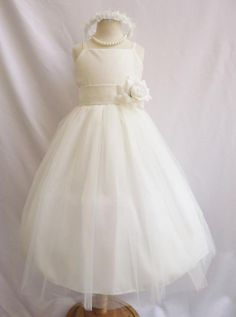 Flower Girl Dress IVORY Simple Spaghetti Strap Dress by LuuniKids, $32.00