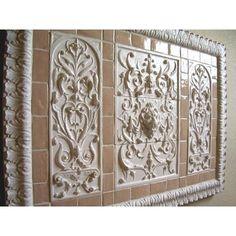 Lion / Bouquets / 2x4 Flat Tiles / Acanthus Liner from Andersen Ceramics