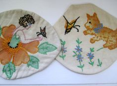 Vintage Embroidered Pot Holders