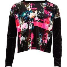 Girls black floral velvet top - tops - girls