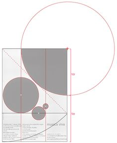 The format is a root 2 rectangle and the square of the rectangle pierces the lowest circle. As with all of Müller-Brockmann's work the elements are in proportion to each other and aligned according to plan.