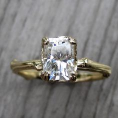 Radiant Forever Brilliant Moissanite Twig Engagement Ring, Carved Floral Setting (1.2ct) from Kristin Coffin Jewelry