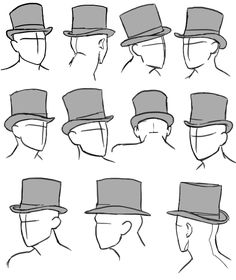 how to draw top hats ✤ || CHARACTER DESIGN REFERENCES  Find more at https://www.facebook.com/CharacterDesignReferences